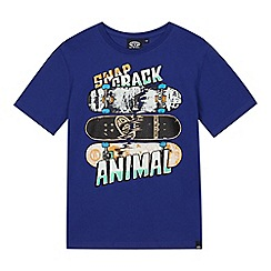 Animal - Boys' blue skateboard print t-shirt
