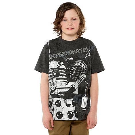 Doctor Who - Boy+s grey +Exterminate+ Dalek printed tee