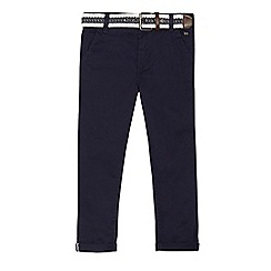 J by Jasper Conran - Boys' navy slim leg stretch chino's with belt