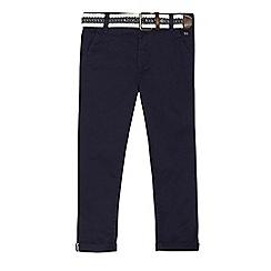 J by Jasper Conran - Boys' navy slim leg stretch chino's with belt