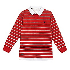 J by Jasper Conran - Boys' red mock shirt striped sweater