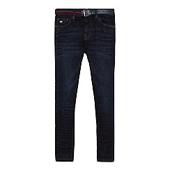 J by Jasper Conran - Boys' blue super stretch denim jeans with belt