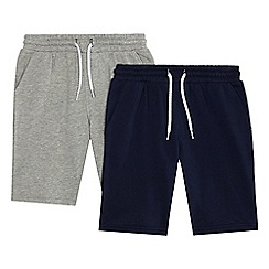 bluezoo - Boys' navy and grey two pack sweat shorts