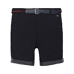 J by Jasper Conran - Boys' navy dotted print shorts with belt