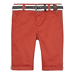 J by Jasper Conran - Boys' dark orange belted chino shorts