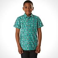 Boy's green boat print shirt