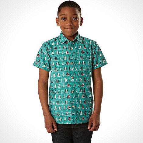 Mantaray - Boy+s green boat print shirt