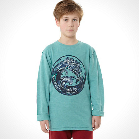 Mantaray - Boy+s turquoise long sleeved printed top