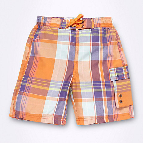 Mantaray - Boy+s orange checked swim shorts
