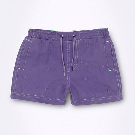 Mantaray - Boy+s purple embroidered swim shorts