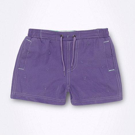 Mantaray - Boy+s purple embroidered swim shorts