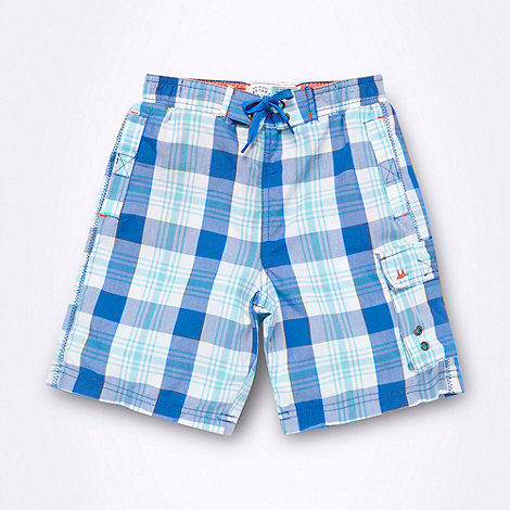 Mantaray - Boy+s blue checked swim shorts