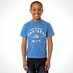 Mantaray - Boy's blue plain logo t-shirt