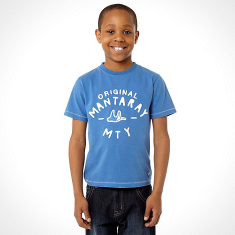 Mantaray - Boy+s blue plain logo t-shirt