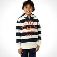 Boy's navy block striped hoodie