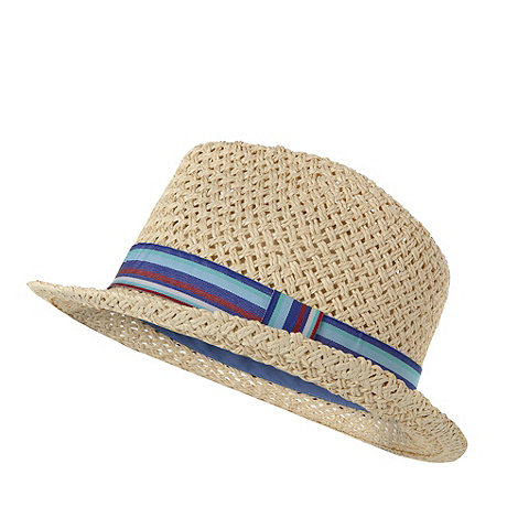 Mantaray - Boy+s natural straw trilby hat
