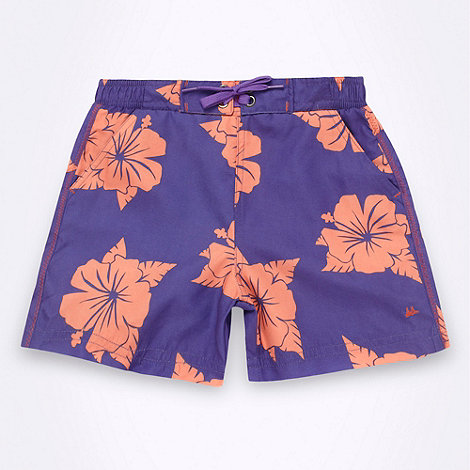 Mantaray - Boy+s purple hibiscus shorts