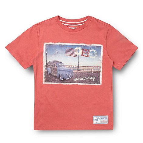 Mantaray - Boy's red postcard printed t-shirt