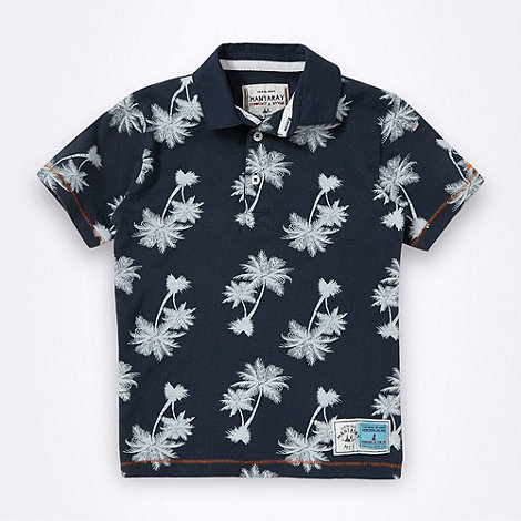 Mantaray - Boy+s navy palm tree printed polo shirt
