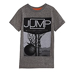 bluezoo - Boys' grey 'Jump' slogan print t-shirt