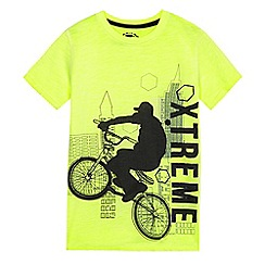bluezoo - Boys' lime green bike print t-shirt