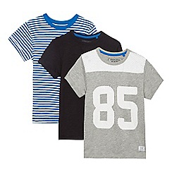 bluezoo - Pack of three boys' assorted plain and patterned t-shirts
