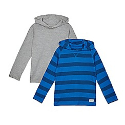 bluezoo - Pack of two boys' blue and grey striped hooded tops