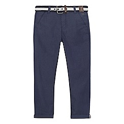 J by Jasper Conran - Boys' blue textured belted slim chinos