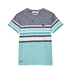 J by Jasper Conran - Boys' navy and green fine striped t-shirt