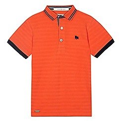 J by Jasper Conran - Boys' orange textured striped polo shirt