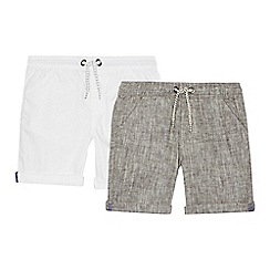 bluezoo - Pack of two boys' grey and white linen blend shorts