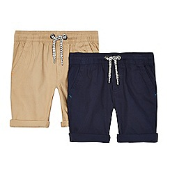 bluezoo - Pack of two boys' navy and beige shorts