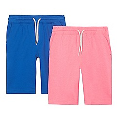 bluezoo - Pack of two boys' pink and navy sweat shorts
