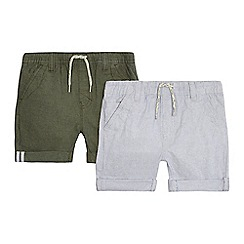 Mantaray - Pack of two boys' green and grey shorts