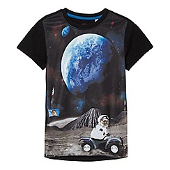 bluezoo - Boys' navy space scene pug print t-shirt