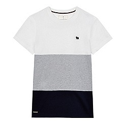J by Jasper Conran - Boys' navy and white colour block striped t-shirt