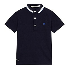J by Jasper Conran - Boys' navy textured stripe polo shirt