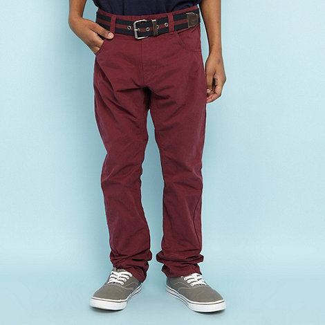 J by Jasper Conran - Designer boy+s wine twisted chino trousers