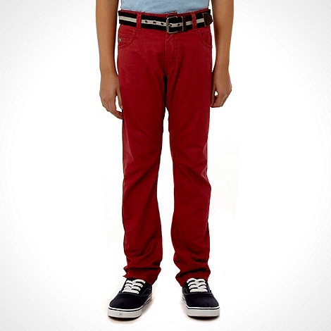 J by Jasper Conran - Designer boy+s dark red belted twisted seam chinos