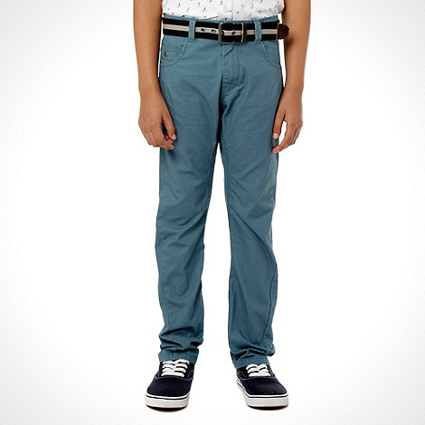 J by Jasper Conran - Designer boy+s mid blue belted twisted seam chinos