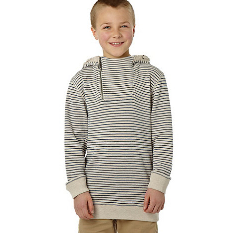 J by Jasper Conran - Designer boy+s beige striped french ribbed hoodie