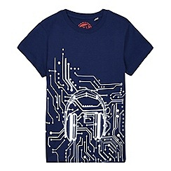 bluezoo - Boys' blue headphones circuits print t-shirt