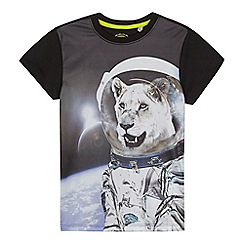 bluezoo - Boys' black space lion print t-shirt
