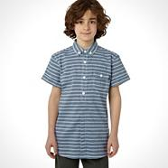 Designer boy's blue short sleeved striped shirt