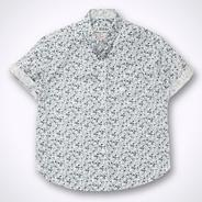 Designer boy's white fine floral short sleeved shirt