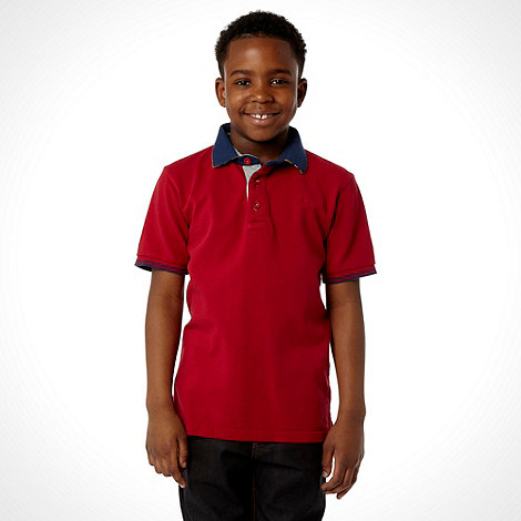J by Jasper Conran - Designer boy+s red pique polo shirt