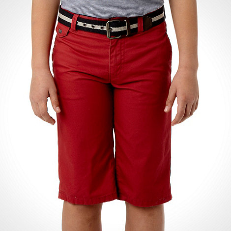 J by Jasper Conran - Designer boy+s red belted chino shorts