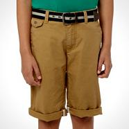 Designer boy's natural belted chino shorts