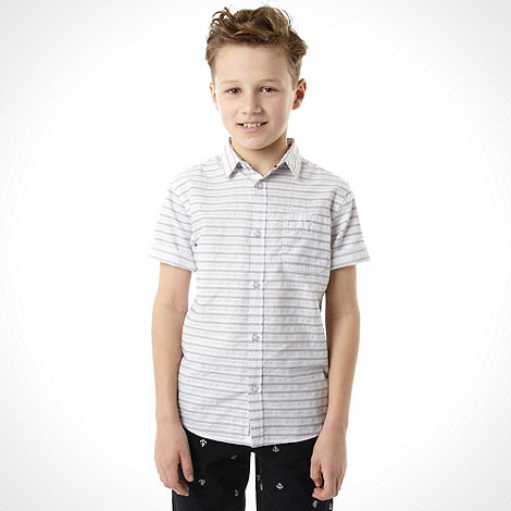 J by Jasper Conran - Designer boy+s navy horizontal striped shirt