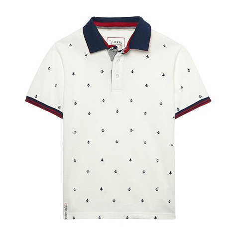 J by Jasper Conran - Boy+s white embroidered polo shirt